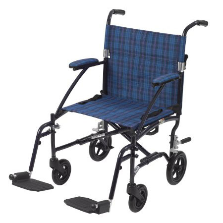 Drive Medical Aluminum Blue Plaid Transport Chair Fly